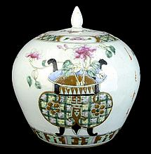 Antique Chinese Export Famille Rose Ginger Jar