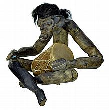 Carved African Tribal Wood Drummer With Hair