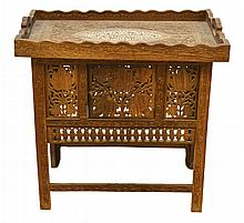 Small Carved Wood Folding Tray Table