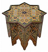 Moroccan Intricately Hand Painted Hexagonal Table