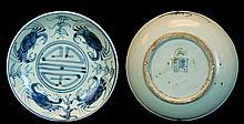 Chinese Blue & White Crab Plate c.19th Century