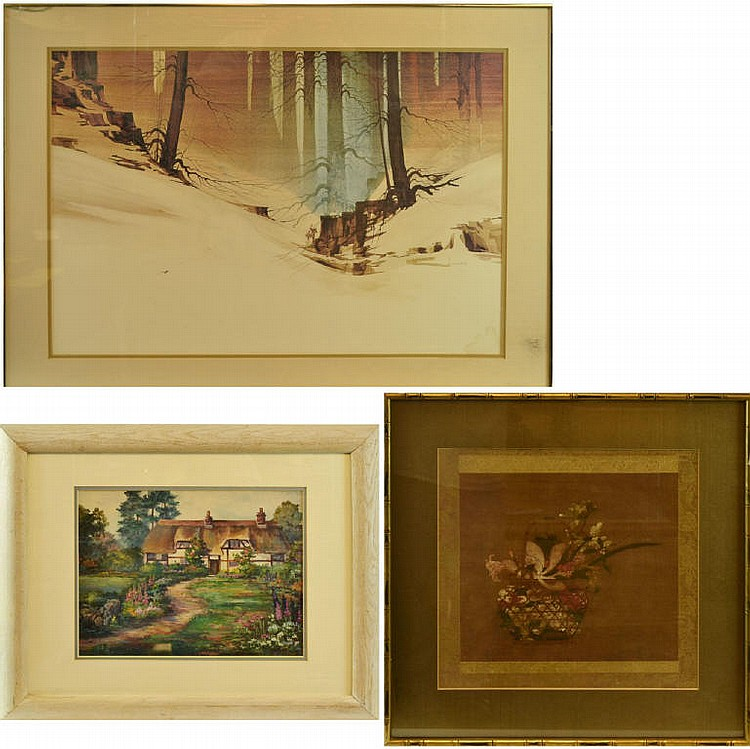 3 pieces of art. Atkinson Cowboy print, Kay Bacher