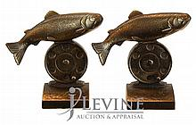 Fly Fishing Reel & Trout Cast Iron Bookends