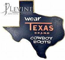 Vintage Texas Cowboy Boot Advertising Sign