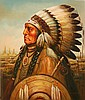 Kenneth Su Native American Chief Oil Painting