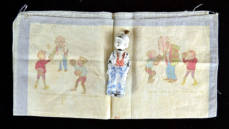 2 pieces, Foxy Grandpa boxing hanky & a figurine.