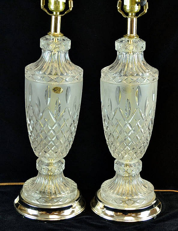 Pair of crystal lamps, European Collection.