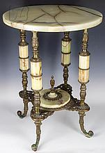 Victorian Iron, Brass & Marble Scroll Foot Table