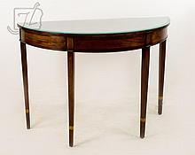 Mahogany Banded Inlay Demilune Table