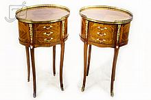 Italian Style Oval Gallery Top Stand Pair