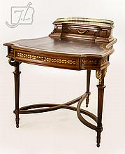 French Style Leather Gallery Top Writing Desk