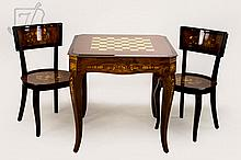 3 Pc. Italian Inlay Game Table & Chair Set