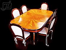 French Style Mahogany Inlay Table & Chairs