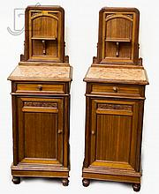 French Carved Floral Bed Side Table Pair
