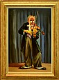 Large Oil Painting, Violinist Clown by E. Fisher