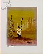 Robert Sr Redbird (1939-) A.P. Linogravure