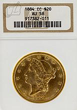 1884 US CC $20 Liberty Head Gold Coin NGC-AU58
