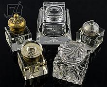 5 Pc. Glass, Crystal & Brass Inkwell Lot