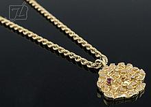 14K Yellow Gold Ruby & Diamond Necklace