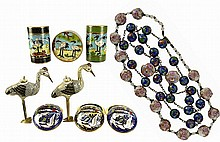 8pcs of Chinese Stork Cloisonne & 2 Necklaces