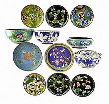12pcs of Chinese Cloisonne: Bowls, Ashtray, Dishes
