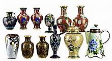 12pcs of Chinese Cloisonne: Vases, Jar, Foil Vase