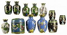 12pcs of Chinese Cloisonne: Vases & Jars