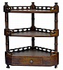 Vintage 3-Tier Wooden Corner Shelf, 1 Drawer