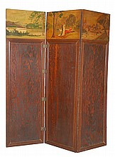 Arts & Crafts Tri-Fold Wooden Screen