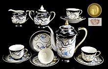 Japanese Dragonware Tea Set, 4 Lithophane Cups