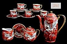Japanese Red Dragonware Tea Set