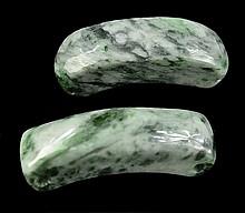 Pair of Jadeite Beads, Pear Cabochon, Serpentine