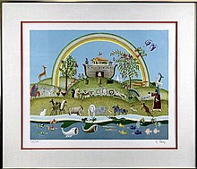 Signed Lithograph, Noah and the Animals, 155/250