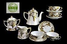 SNB Japanese Gold Trim Porcelain Tea Set, 4 Cups