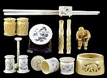 Asian Ivory: Figure, Salt & Peppers, Chop Sticks