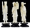 3 Asian Carved Ivory Figures on Wooden Stands