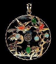 14k Black Jadeite, Opal & Coral Asian Pendant