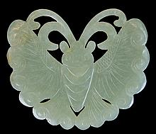 Carved Green Jade Moth