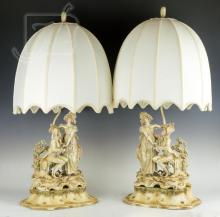 Japanese Arnart Creations Porcelain Lamp Pair
