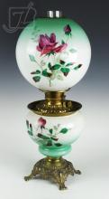Gone With The Wind Floral Rose Globe Oil Lamp