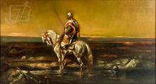 Signed E. Toitti Bedouin Man On Horseback Painting