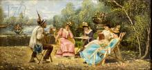 20th C. Afternoon Gathering Oil Painting