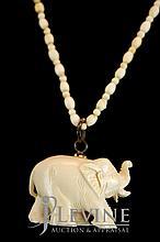 Ivory Elephant Pendant Necklace