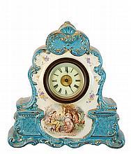 Porcelain Shelf Clock French Movement Scallop Case