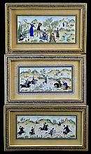3 Pcs. Indo-Persian Framed Painting on Ivory