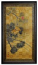 Asian Crane Watercolor on Wood Parquet