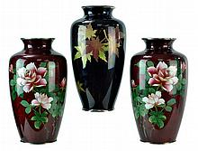 3 Pcs. Japanese Cloisonne Enamel Vase Lot, Sato