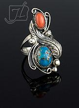 Native American Silver Turquoise & Coral Ring