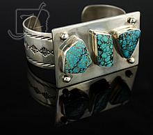 Edison Begay Sterling Turquoise Cuff Bracelet
