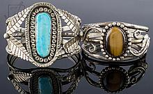 Signed Native American Silver Cuff Bracelet Pair